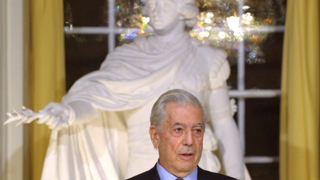 Nobel literature prize winner Mario Vargas Llosa holds his Nobel lecture at the Swedish Academy in the old town of Stockholm