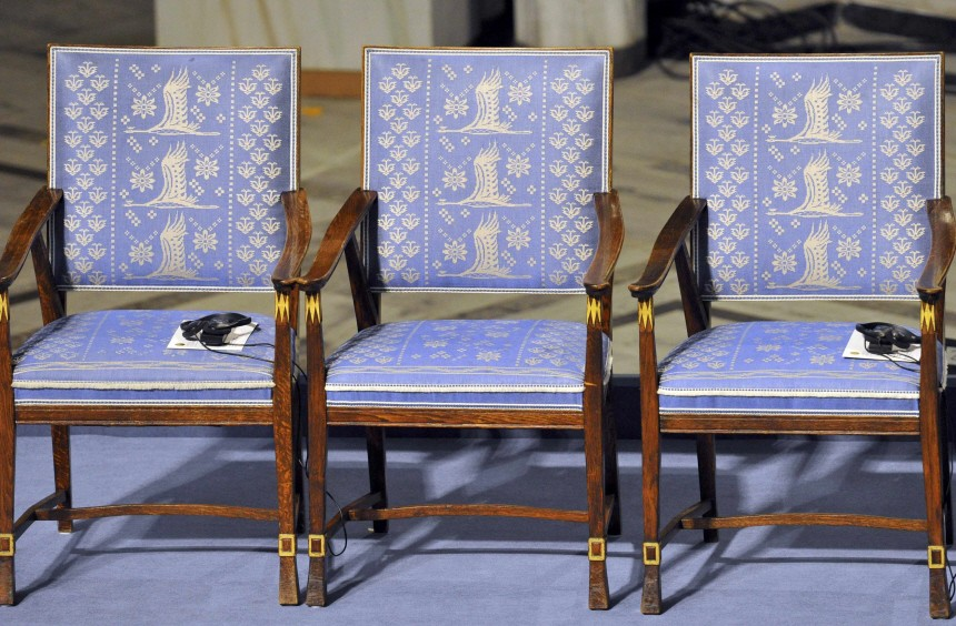 An empty chair without audio equipment where Nobel Peace Prize winner Liu Xiaobo should sit is seen before the Nobel Peace Prize ceremony in Oslo