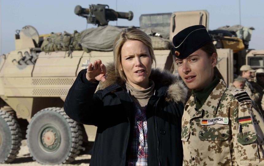 Stephanie zu Guttenberg, wife of German Defence Minister zu Guttenberg, talks to a German Bundeswehr army soldier during a visit to Kunduz
