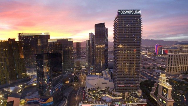 The Cosmopolitan of Las Vegas is shown at sunset in Las Vegas
