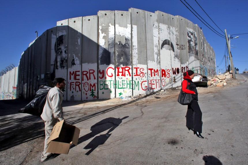 Christmas graffiti on separation wall in Bethlehem