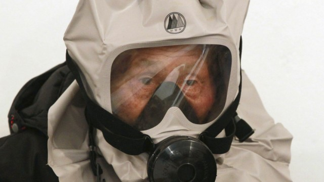 A resident wears a gas mask in an air raid bunker on Yeonpyeong Island