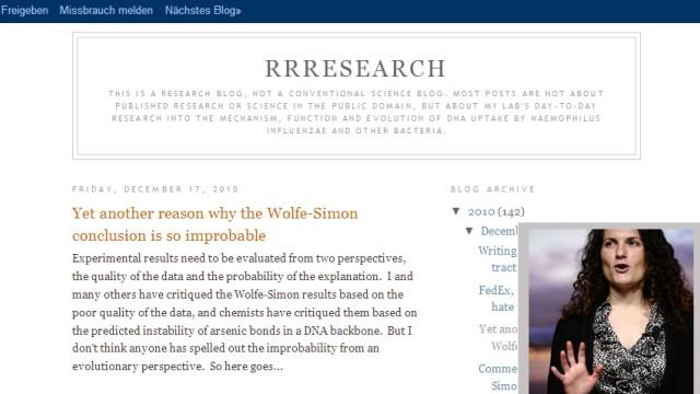 Rosie Redfield Blog Felisa Wolfe-Simon'