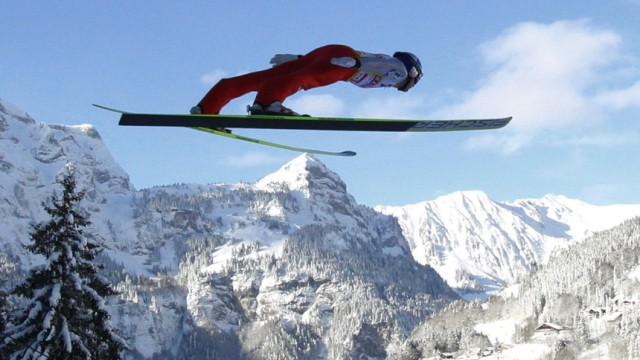 Austria's Morgenstern soars through the air during the qualification round of the individual large hill ski jumping World Cup in Engelberg