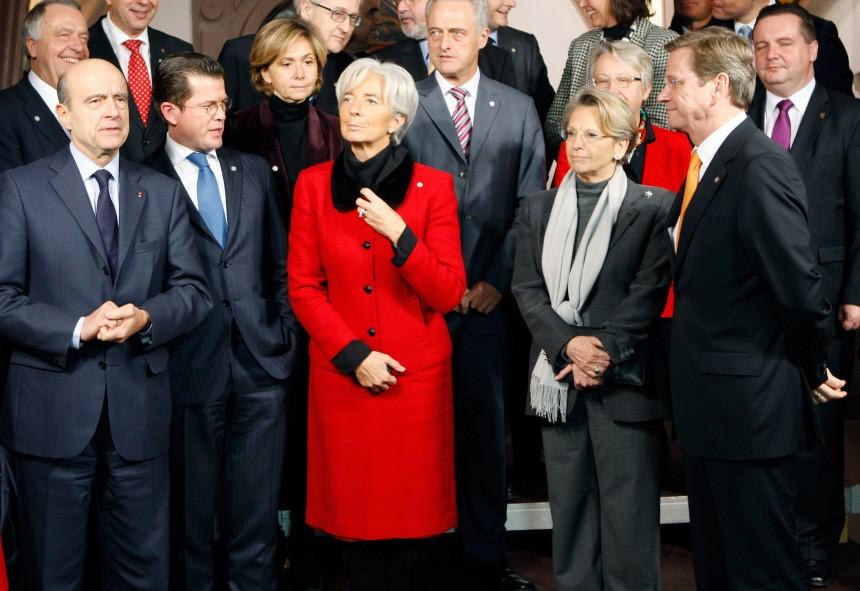 Angela Merkel, Nicolas Sarkozy, Alain Juppe,  Defense Minister Karl-Theodor zu Guttenberg, Christine Lagarde,  Michele Alliot-Marie, Gudio Westerwelle, Wolfgang Schauble