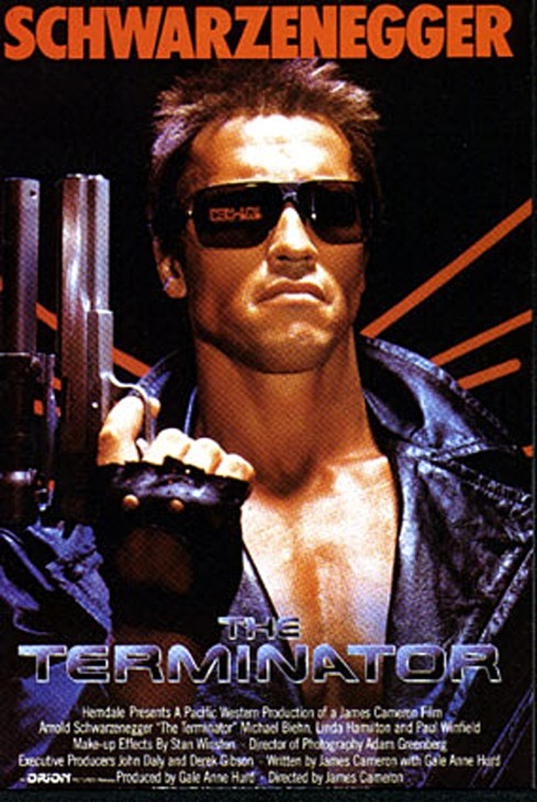 A poster from actor Arnold Schwarzenegger's 1984 film 'The Terminator is shown in this undated publicity photograph