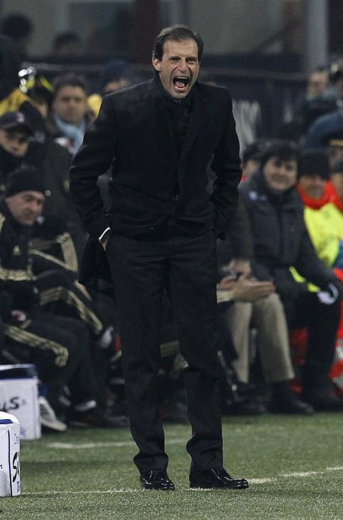 AC Milan's coach Allegri reacts during their Italian Serie A soccer match against AS Roma in Milan