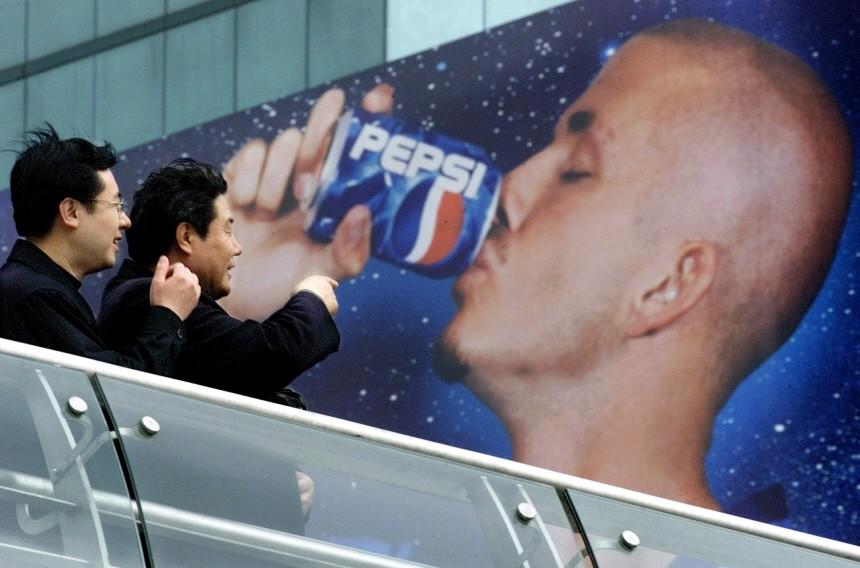 Werbung mit Fußballstar David Beckham in China für Pepsi Cola