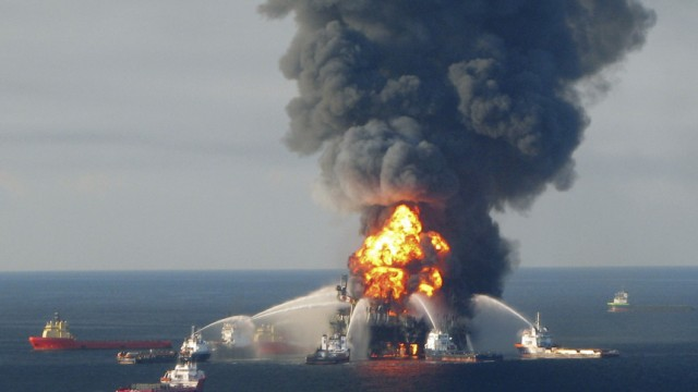 File photo of fire boat response crews battling the blazing remnants of the offshore oil rig Deepwater Horizon off Louisiana