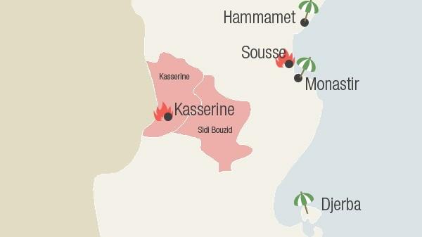 Karte Tunesien Unruhen Infografik