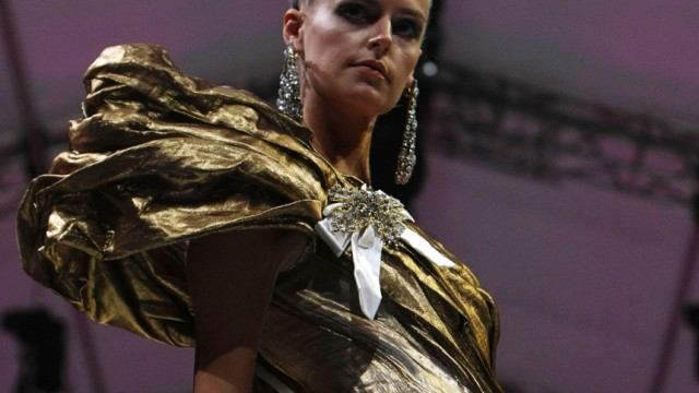 Model presents creation from Christian Lacroix Spring/Summer 2009 Haute Couture collection at Audi Fashion Festival in Singapore