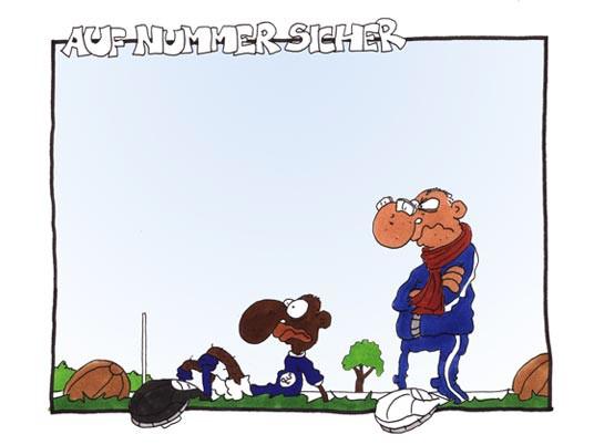 Fussball Comic, Fussballgötter, Auf Nummer sicher gehen