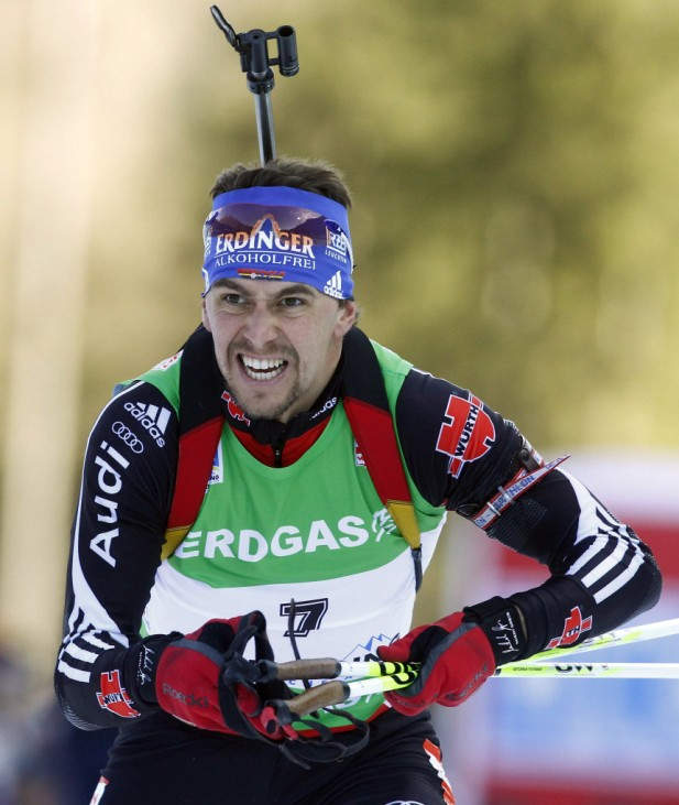 Germany's Greis competes during the men's 12,5 km pursuit race at the biathlon World Cup in Ruhpolding