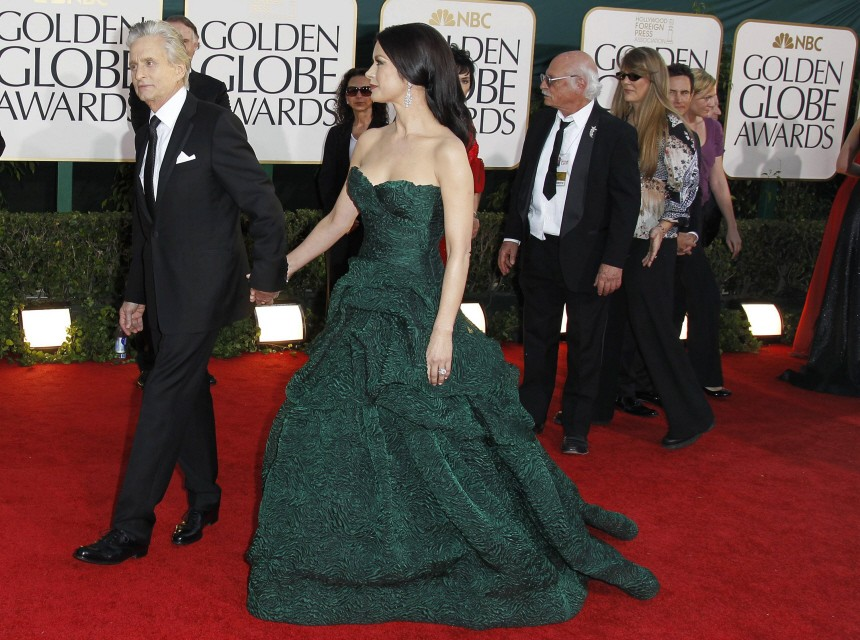 Actress Catherine Zeta Jones and husband actor Michael Douglas arrive at the 68th annual Golden Globes Awards in Beverly Hills