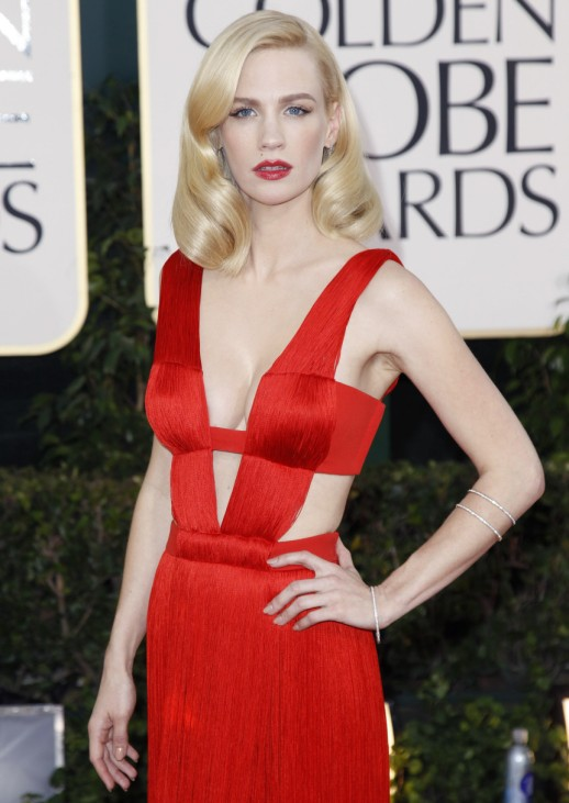 Actress January Jones arrives at the 68th annual Golden Globes Awards in Beverly Hills