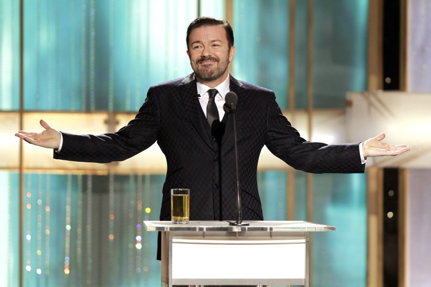 Host Ricky Gervais talks at the 68th annual Golden Globes Awards in Beverly Hills