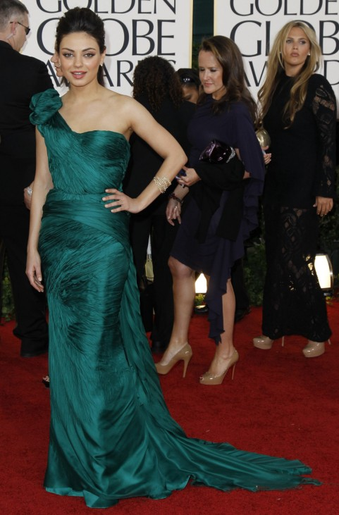 Actress Mila Kunis arrives at the 68th annual Golden Globes Awards in Beverly Hills
