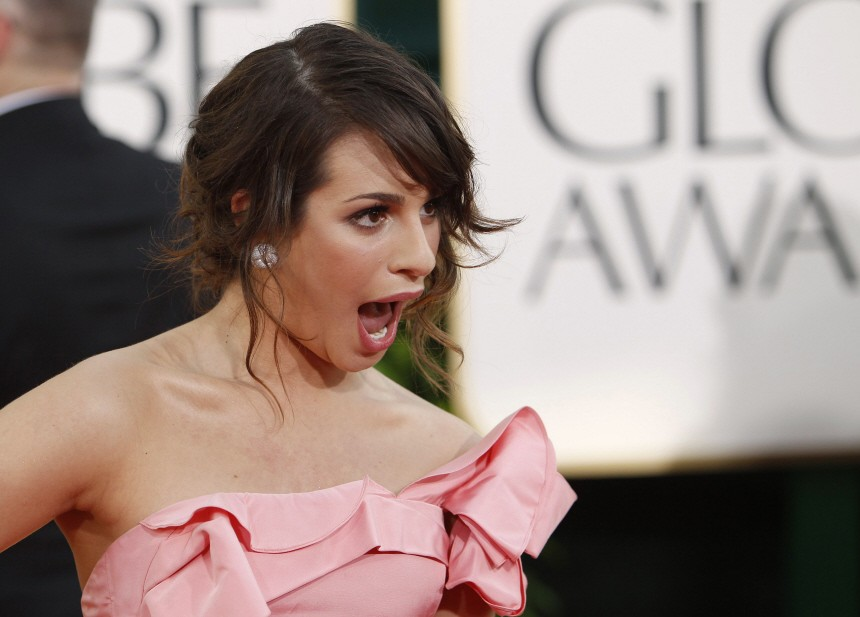 Actress Lea Michele nominated for best actress is TV series comedy or musical for the series 'Glee' arrives at the 68th annual Golden Globes Awards in Beverly Hills
