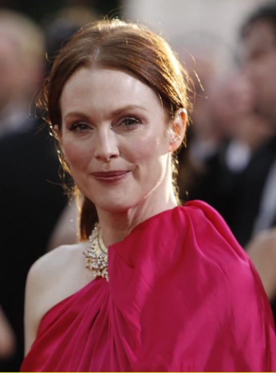 Actress Julianne Moore arrives at the 68th annual Golden Globes Awards in Beverly Hills