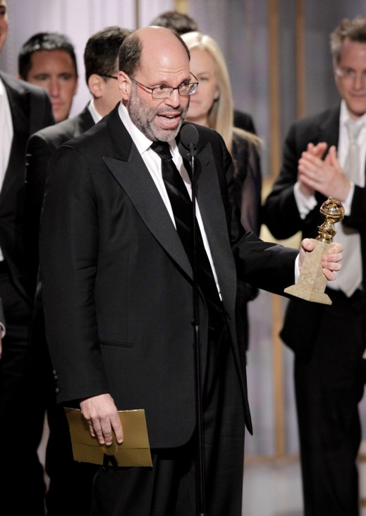 Producer Scott Rudin accepts the award for best motion picture drama for 'The Social Network' at the 68th annual Golden Globes Awards in Beverly Hills