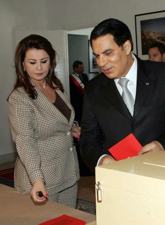 Tunisian President Zine El Abidine Ben Ali  and wife Leila Ben Al