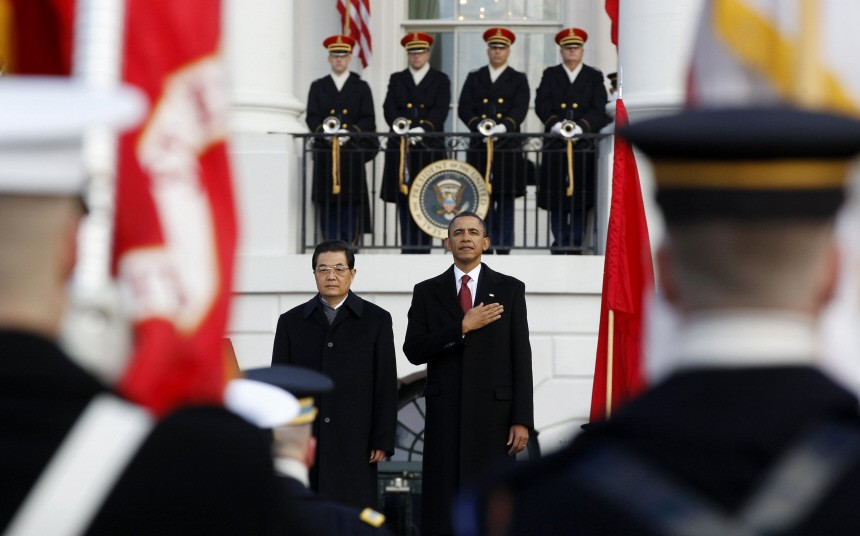U.S. President Obama and Chinese President Hu take part in an official south lawn arrival ceremony for Hu at the White House in Washington