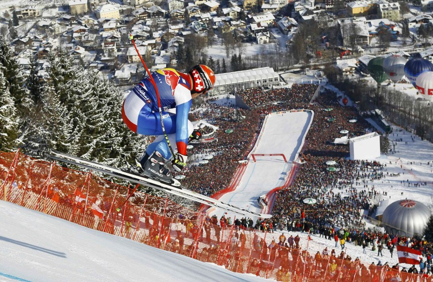 Cuche of Switzerland competes during men's downhill race at Alpine Skiing World Cup in Kitzbuehel