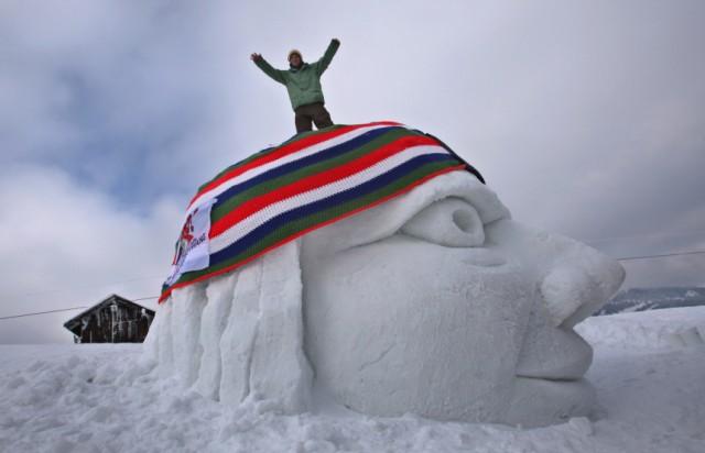 Riesenhäkelmütze auf Schneekopf
