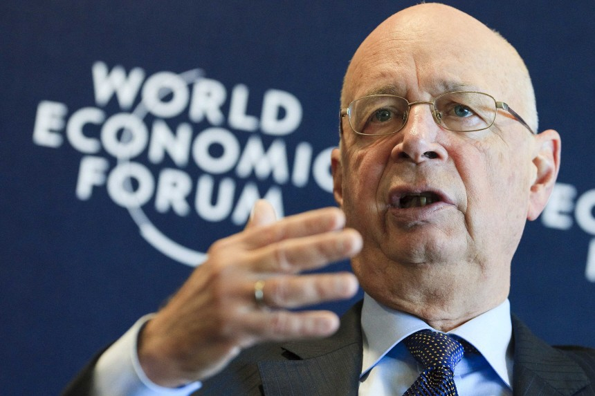 Schwab, founder and Executive Chairman of the World Economic Forum (WEF) looks on during a news conference at the WEF headquarters in Cologny near Geneva