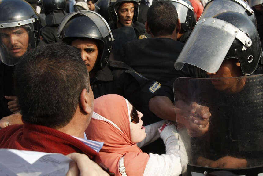 Anti-government protesters in at Tahrir Square downtown Cairo