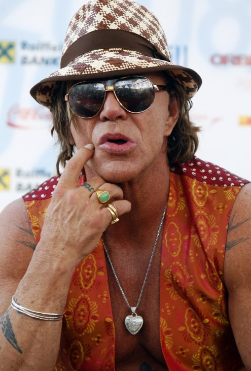 U.S. actor Mickey Rourke listens to questions from reporters and film professionals in Sarajevo