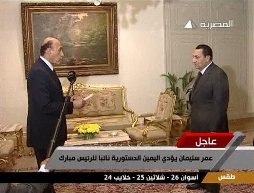 Egyptian President Hosni Mubarak swears in Omar Suleiman as vice president in Cairo