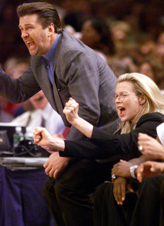 ACTORS BALDWIN AND BASINGER REACT IN KNICKS WIN AGAINST PACERS IN NBA