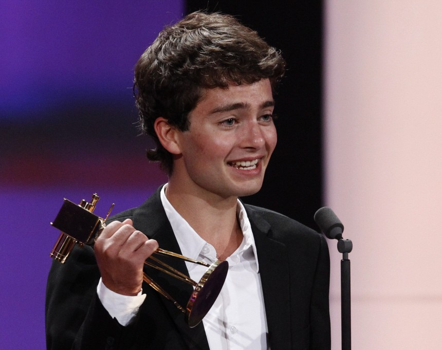 German actor Max Hegewald receives the award for best newcomer during Golden Camera awards in Berlin