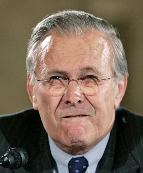 File photo of US Secretary of Defense Rumsfeld during hearing on Capitol Hill