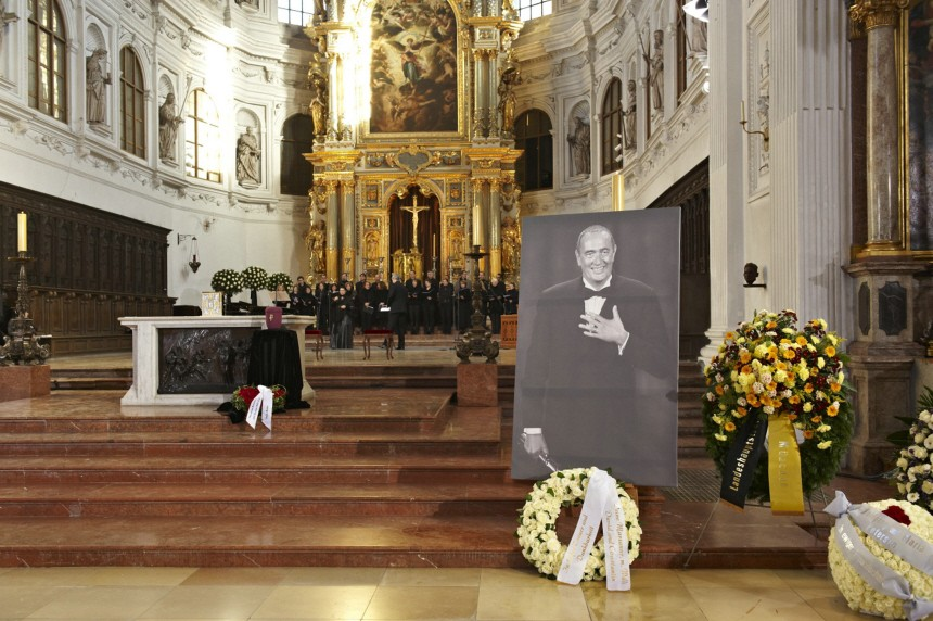 A portrait of late German film producer Bernd Eichinger is pictured in St. Michael church before his funeral in Munich