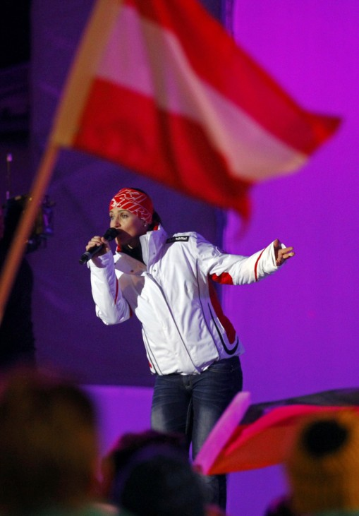 Singer Goergl of Austria performs on the stage during the opening ceremony of the Alpine Ski World Championship in Garmisch-Partenkirchen