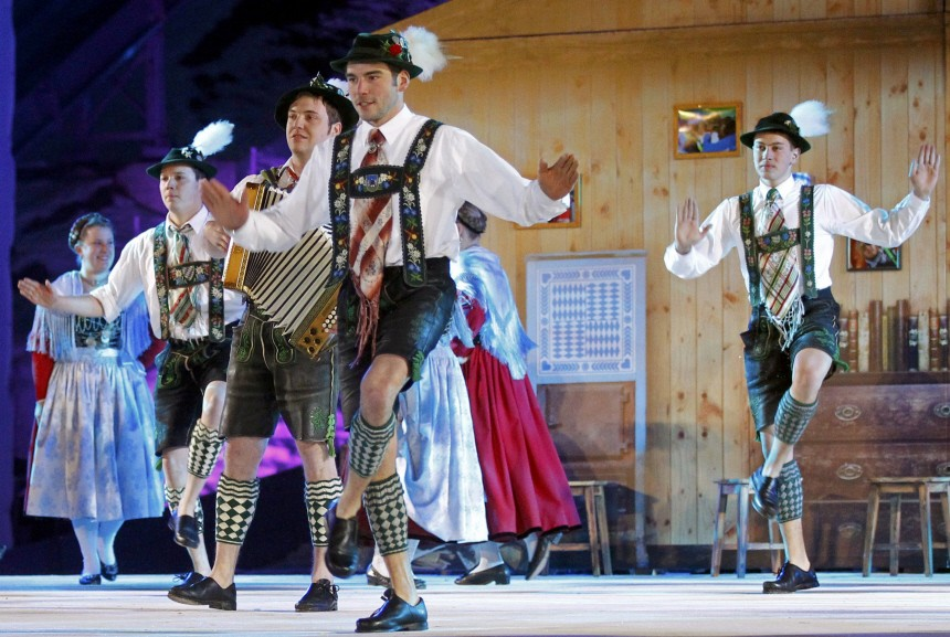 Dancers in traditional costumes perform during the opening ceremony of the Alpine Ski World Championship in Garmisch-Partenkirchen