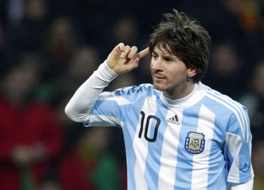 Argentina's Messi celebrates his goal during their international friendly soccer match against Portugal in Geneva
