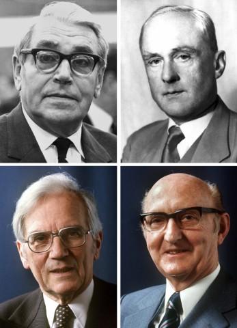 Otmar Emminger (rechts unten), Karl Klasen (links unten)