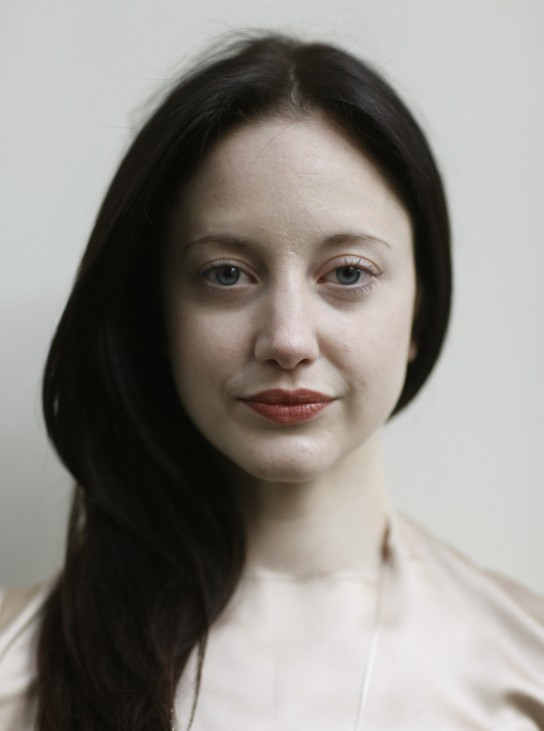 Andrea Riseborough of Britain poses for pictures during presentation of Shooting Stars at Berlinale International Film Festival in Berlin