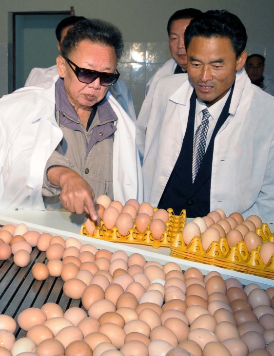North Korean leader Kim Jong-il visits a chicken factory in North Pyongan province in North Korea