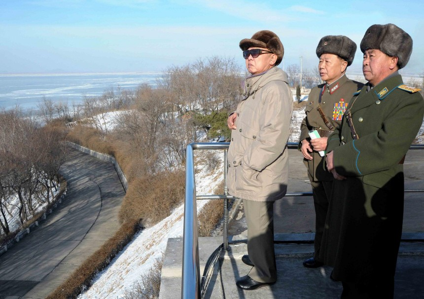 North Korean leader Kim watches a joint training for all three branches of the armed forces at an undisclosed location in North Korea