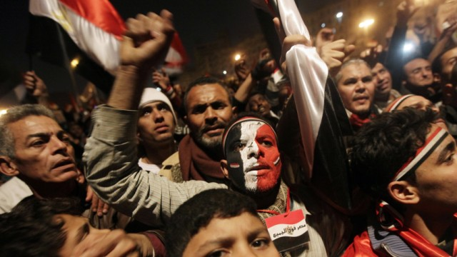 Egyptian anti government protesters celebrate