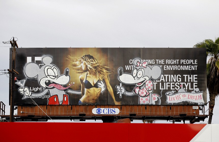 An artwork painted on a billboard is seen in Los Angeles