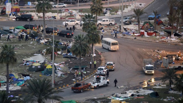 Tents at the Pearl Roundabout are cleared of protesters, in Manama