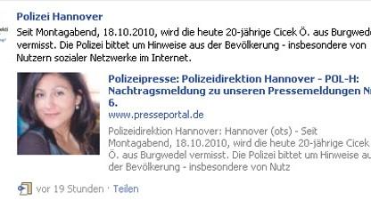 Facebook - Polizei Hannover