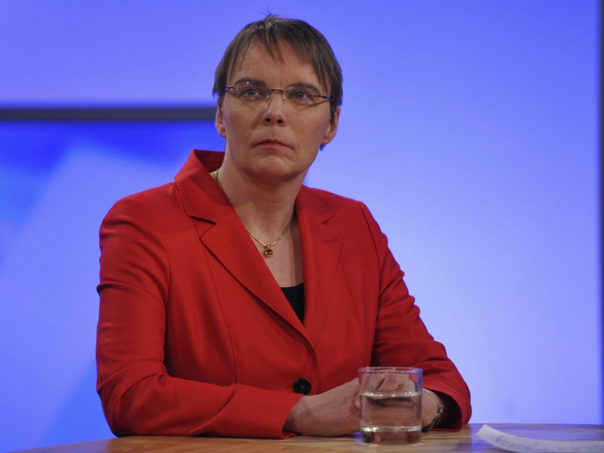 Green Party top candidate Hajduk is pictured before a televised interview at the election media centre in Hamburg