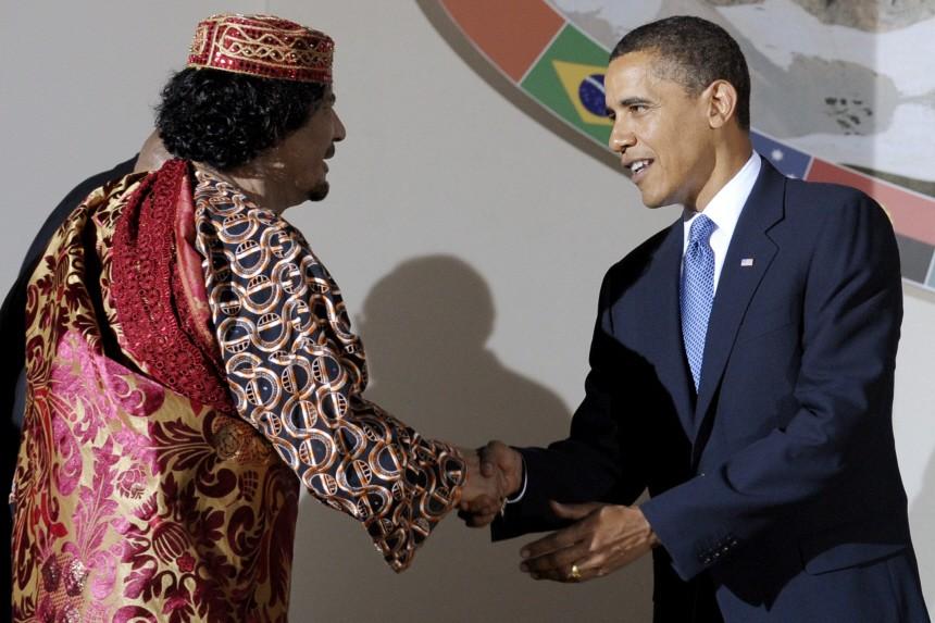 G8-Gipfel in L'Aquila - al-Gaddafi und Obama