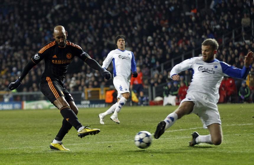 Chelsea's Anelka scores against FC Copenhagen during their Champions League soccer match at Parken stadium in Copenhagen
